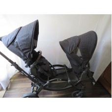 ABC Design Zoom Double Pushchair Blue Denim And Tan