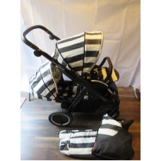 Babystyle Oyster Max 2 Double Pram Pushchair Black And White Humbug Edition
