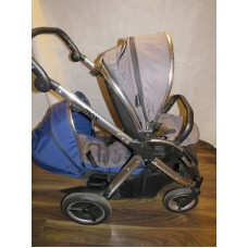 Babystyle Oyster Max 2 Double Pram Pushchair Grey Blue
