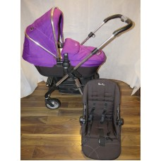 Silver Cross Pioneer Pram Pushchair Damson 3 In 1 Carrycot Seat Unit