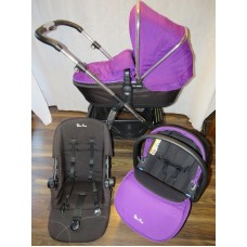 Silver Cross Pioneer Travel System Damson Bundle Pram Pushchair Set